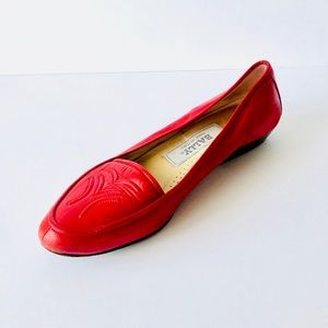 Bally Red Leather Loafers Size 7B